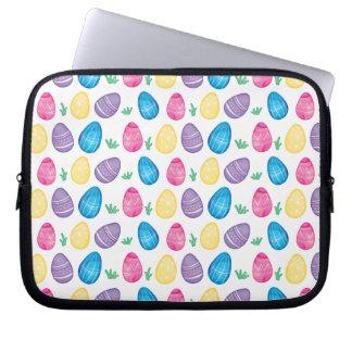 Watercolor Easter Egg Hunt Pattern Laptop Sleeve