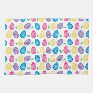 Watercolor Easter Egg Hunt Pattern Tea Towels
