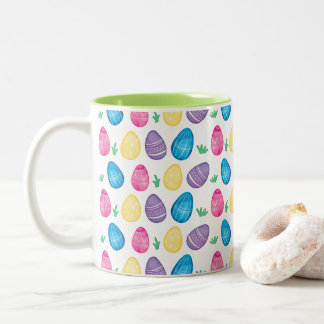 Watercolor Easter Egg Hunt Pattern Two-Tone Coffee Mug
