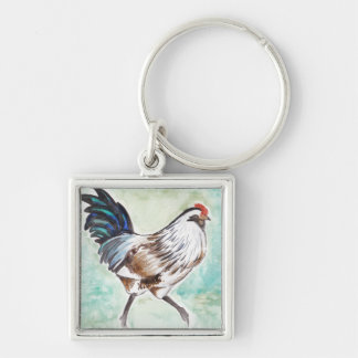 Watercolor Easter Egger Rooster Key Chain