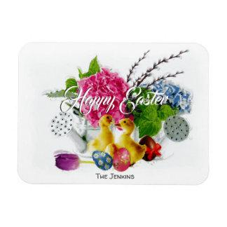 Watercolor Easter Eggs, Ducklings & Spring Flowers Magnet
