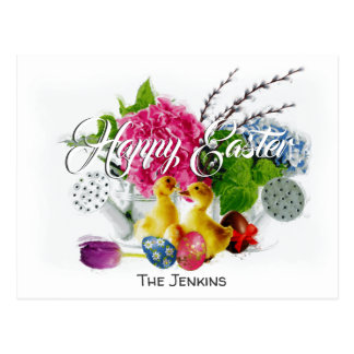 Watercolor Easter Eggs, Ducklings & Spring Flowers Postcard