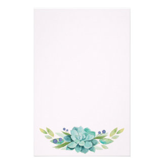 Watercolor Echeveria Plant Decoration Stationery