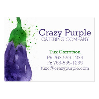 watercolor eggplant vegetable food chef catering business card