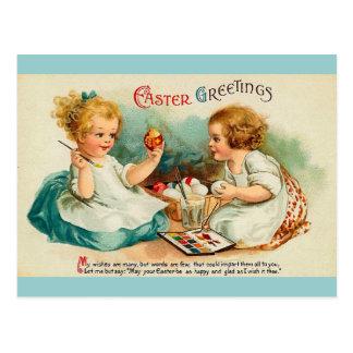 Watercolor Eggs Fine Vintage Easter Greetings Postcard