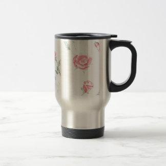 Watercolor elegant vintage roses stainless steel travel mug