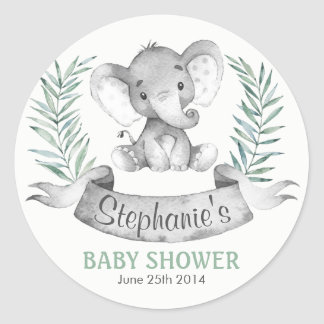 Watercolor Elephant Baby Shower Classic Round Sticker