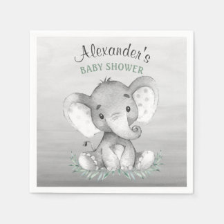 Watercolor Elephant Baby Shower Paper Napkin