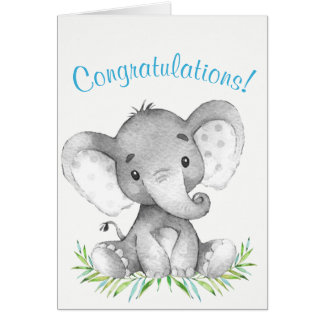 Watercolor Elephant Boy Congratulations Card