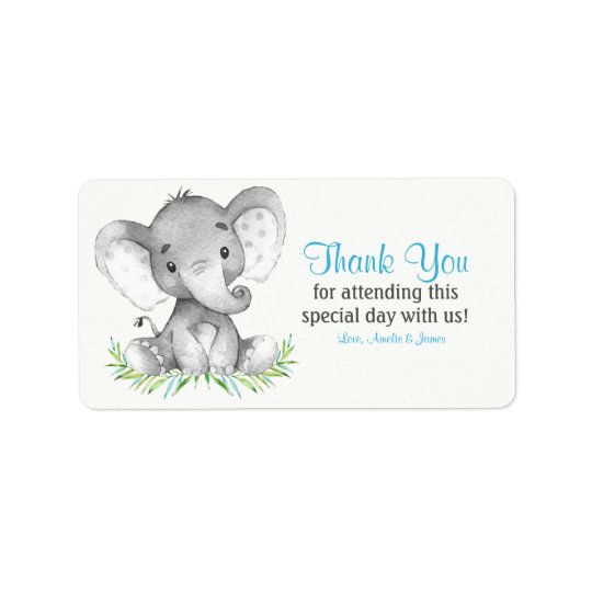 Watercolor Elephant Boy Thank You Address Label