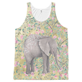 Watercolor Elephant Flowers Gold Glitter All-Over Print Singlet