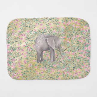 Watercolor Elephant Flowers Gold Glitter Burp Cloths