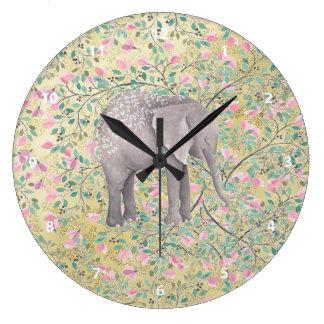 Watercolor Elephant Flowers Gold Glitter Clock