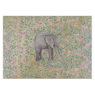 Watercolor Elephant Flowers Gold Glitter Cutting Board