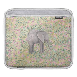 Watercolor Elephant Flowers Gold Glitter iPad Sleeve