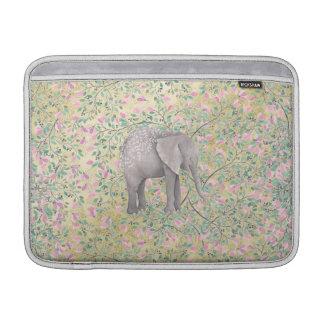Watercolor Elephant Flowers Gold Glitter MacBook Air Sleeves