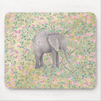 Watercolor Elephant Flowers Gold Glitter Mouse Pad
