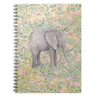 Watercolor Elephant Flowers Gold Glitter Notebook