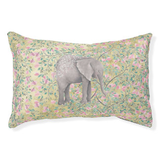 Watercolor Elephant Flowers Gold Glitter Pet Bed