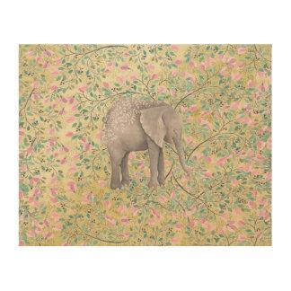 Watercolor Elephant Flowers Gold Glitter Wood Canvas