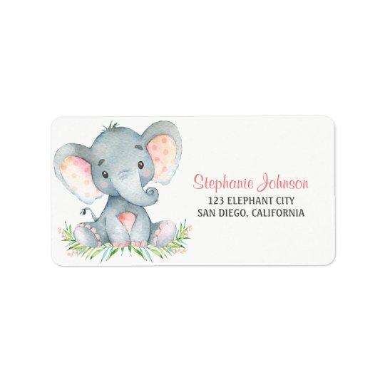 Watercolor Elephant Girl Address Label