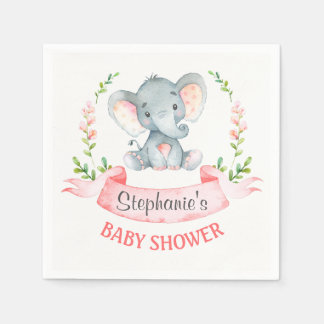Watercolor Elephant Girl Baby Shower Disposable Napkin