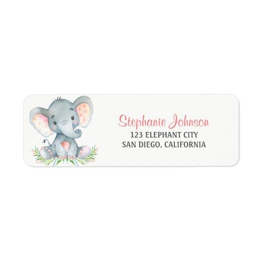 Watercolor Elephant Girl Return Address Label