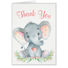 Watercolor Elephant Girl Thank You Card