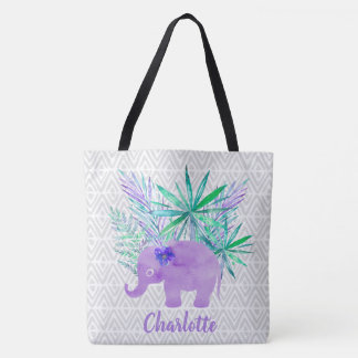 Watercolor Elephant Jungle Shibori Primitive Tote Bag