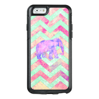 Watercolor elephant mint green pink chevron OtterBox iPhone 6/6s case