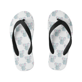 Watercolor Elephant Pattern Kid's Thongs