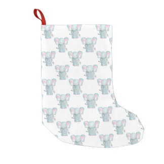 Watercolor Elephant Pattern Small Christmas Stocking