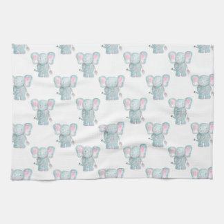 Watercolor Elephant Pattern Tea Towel