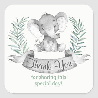 Watercolor Elephant Thank You Square Sticker