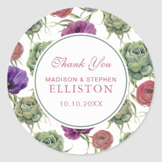Watercolor | Eucalyptus & Anemone | Thank You Classic Round Sticker