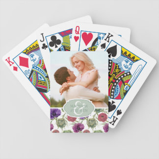 Watercolor | Eucalyptus & Anemone - Wedding Photo Bicycle Playing Cards