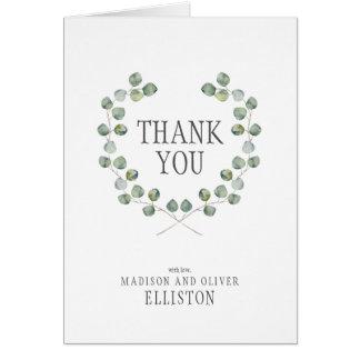 Watercolor Eucalyptus Leaf Frame   Thank You Card