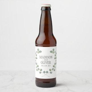 Watercolor Eucalyptus Leaf Frame | Wedding Beer Bottle Label