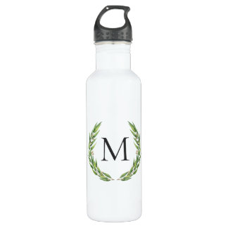 Watercolor Eucalyptus Wreath Monogram Water Bottle