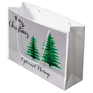watercolor evergreen trees Christmas personalized Large Gift Bag