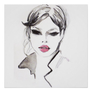 Watercolor face lashes makeup artist branding poster