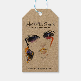 Watercolor face long lashes makeup artist branding gift tags