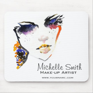 Watercolor face long lashes makeup artist branding mouse pad