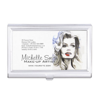 Watercolor face makeup artist branding business card holder