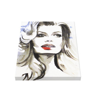 Watercolor face makeup artist branding canvas print
