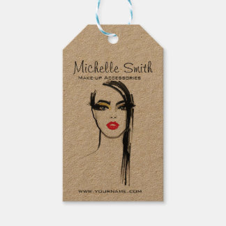 Watercolor face makeup artist branding gift tags