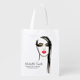 Watercolor face makeup artist branding reusable grocery bag