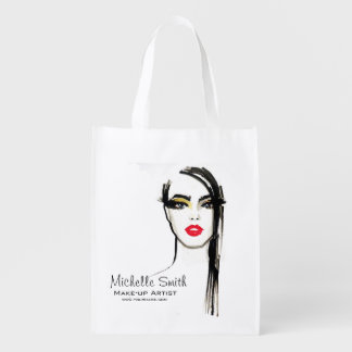 Watercolor face makeup artist branding reusable grocery bag