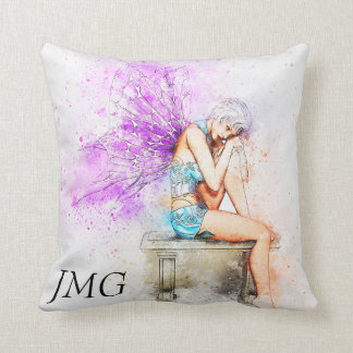 Watercolor Fairy in Blue with Monogram Cushion