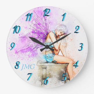 Watercolor Fairy in Blue with Monogram Large Clock